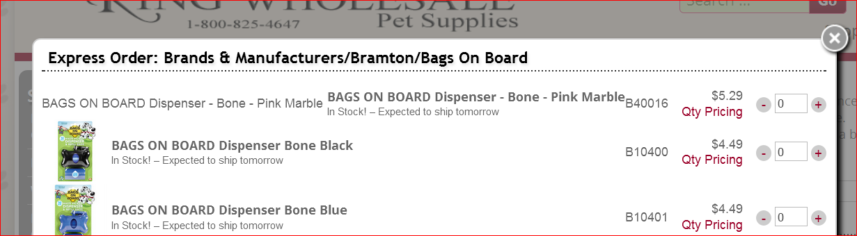 redesigned website express order example